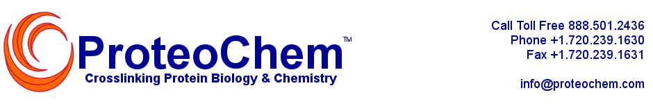 ProteoChem manufactures protein crosslinkers, analytical standards, and novel proteomics reagents for protein detection and protein modification that are used in mass spectrometry, drug development, diagnostics, and protein biology.